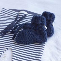 baby slofjes gebreide slofjes donker blauw navy